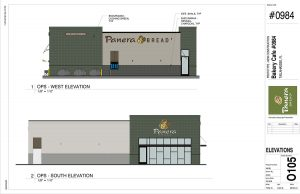 West and South Elevations of Panera Bread at Apalachee Parkway in Tallahassee, FL