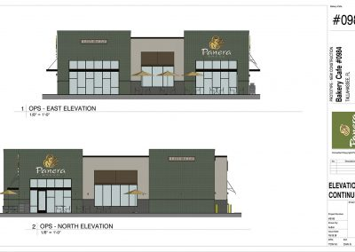 East and North Elevations of Panera Bread at Apalachee Parkway in Tallahassee, FL